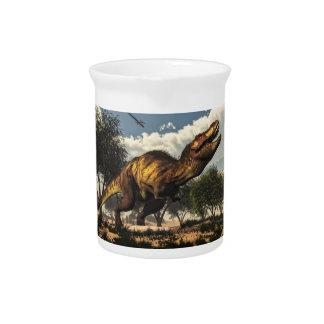 Tyrannosaurus rex dinosaur protecting its eggs pitcher