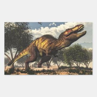 Tyrannosaurus rex dinosaur protecting its eggs rectangular sticker
