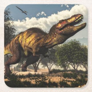 Tyrannosaurus rex dinosaur protecting its eggs square paper coaster