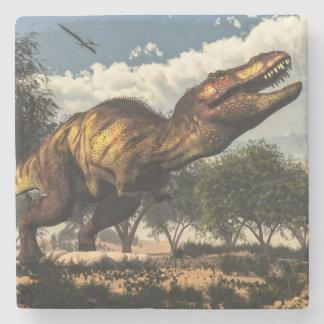 Tyrannosaurus rex dinosaur protecting its eggs stone coaster