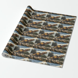 Tyrannosaurus rex dinosaur protecting its eggs wrapping paper