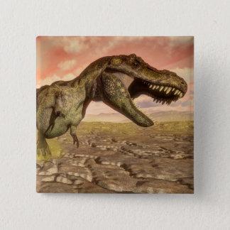 Tyrannosaurus rex dinosaur roaring 15 cm square badge