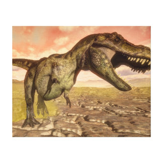 Tyrannosaurus rex dinosaur roaring canvas print