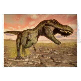 Tyrannosaurus rex dinosaur roaring card