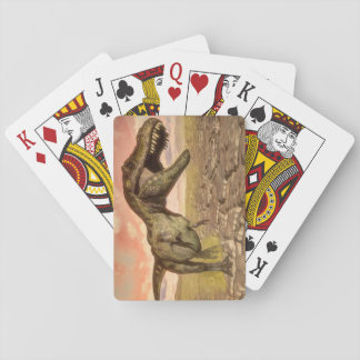 Tyrannosaurus rex dinosaur roaring playing cards