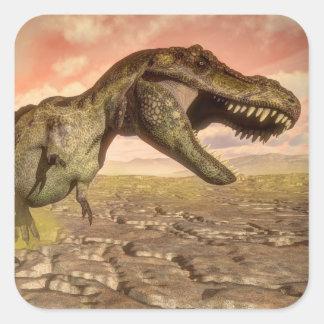 Tyrannosaurus rex dinosaur roaring square sticker