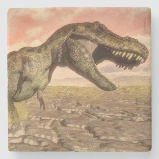 Tyrannosaurus rex dinosaur roaring stone coaster