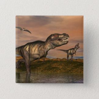 Tyrannosaurus rex dinosaurs - 3D render 15 Cm Square Badge