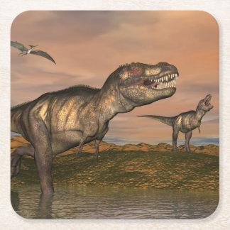 Tyrannosaurus rex dinosaurs - 3D render Square Paper Coaster