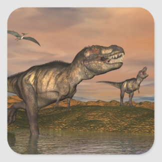 Tyrannosaurus rex dinosaurs - 3D render Square Sticker