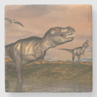 Tyrannosaurus rex dinosaurs - 3D render Stone Coaster