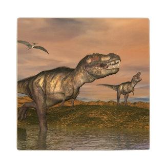 Tyrannosaurus rex dinosaurs - 3D render Wood Coaster