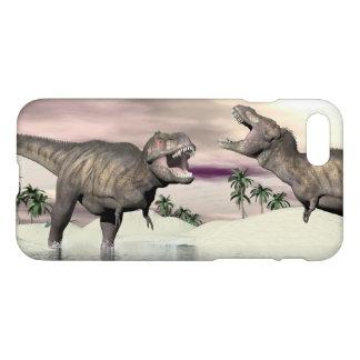 Tyrannosaurus rex dinosaurs fight - 3D render iPhone 8/7 Case