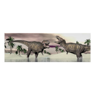 Tyrannosaurus rex dinosaurs fight - 3D render Poster