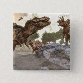 Tyrannosaurus rex escaping from triceratops attack 15 cm square badge