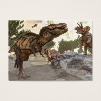 Tyrannosaurus rex escaping from triceratops attack business card
