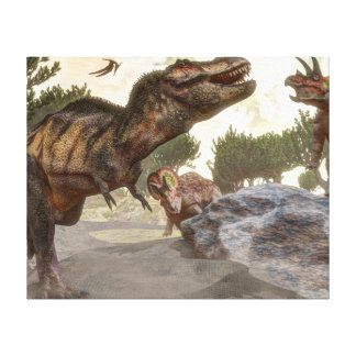 Tyrannosaurus rex escaping from triceratops attack canvas print