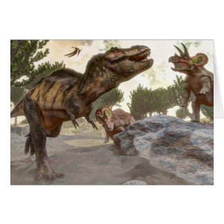 Tyrannosaurus rex escaping from triceratops attack card