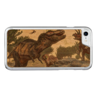 Tyrannosaurus rex escaping from triceratops attack carved iPhone 8/7 case