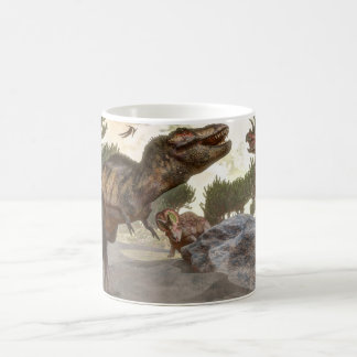 Tyrannosaurus rex escaping from triceratops attack coffee mug