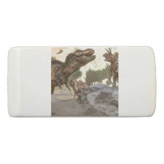 Tyrannosaurus rex escaping from triceratops attack eraser