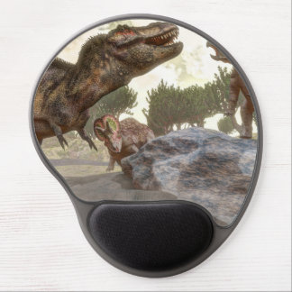 Tyrannosaurus rex escaping from triceratops attack gel mouse pad
