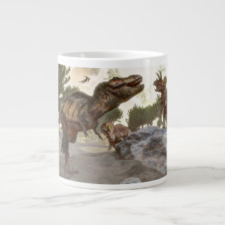 Tyrannosaurus rex escaping from triceratops attack giant coffee mug