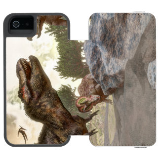 Tyrannosaurus rex escaping from triceratops attack incipio watson™ iPhone 5 wallet case