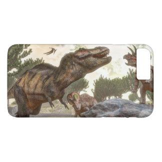 Tyrannosaurus rex escaping from triceratops attack iPhone 8 plus/7 plus case