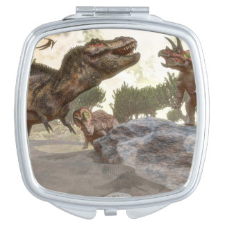 Tyrannosaurus rex escaping from triceratops attack makeup mirror