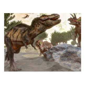 Tyrannosaurus rex escaping from triceratops attack postcard