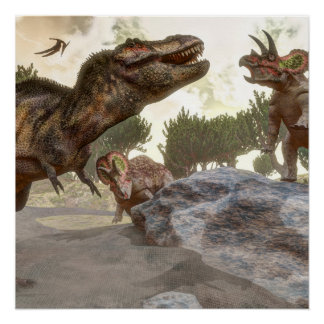 Tyrannosaurus rex escaping from triceratops attack poster