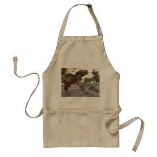 Tyrannosaurus rex escaping from triceratops attack standard apron