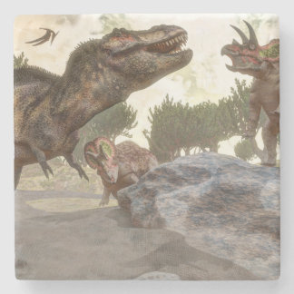 Tyrannosaurus rex escaping from triceratops attack stone coaster