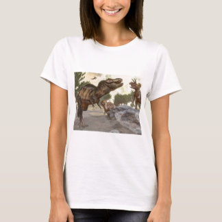 Tyrannosaurus rex escaping from triceratops attack T-Shirt