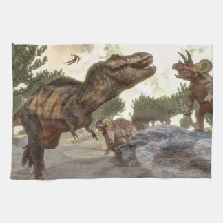 Tyrannosaurus rex escaping from triceratops attack tea towel
