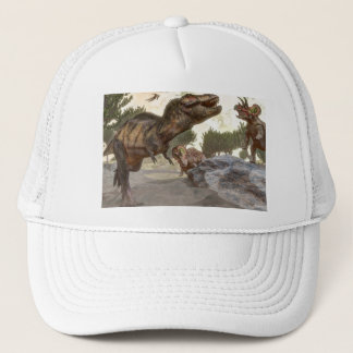 Tyrannosaurus rex escaping from triceratops attack trucker hat