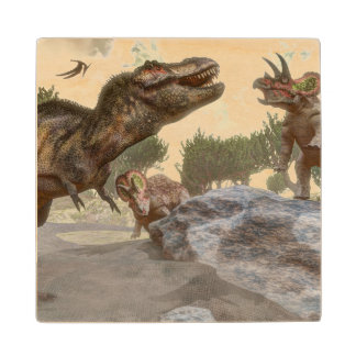 Tyrannosaurus rex escaping from triceratops attack wood coaster