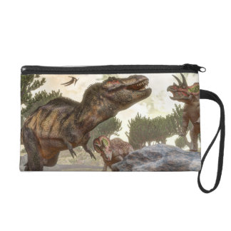 Tyrannosaurus rex escaping from triceratops attack wristlet purses