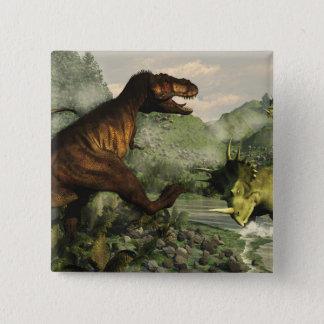 Tyrannosaurus rex fighting against styracosaurus 15 cm square badge