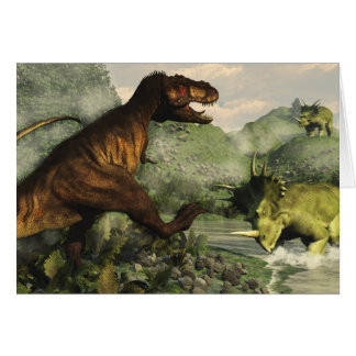 Tyrannosaurus rex fighting against styracosaurus card