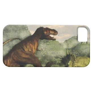 Tyrannosaurus rex fighting against styracosaurus case for the iPhone 5