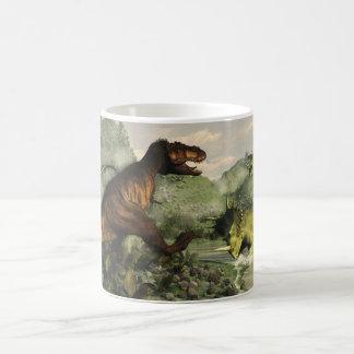 Tyrannosaurus rex fighting against styracosaurus coffee mug