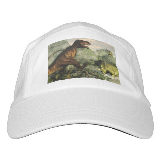 Tyrannosaurus rex fighting against styracosaurus hat