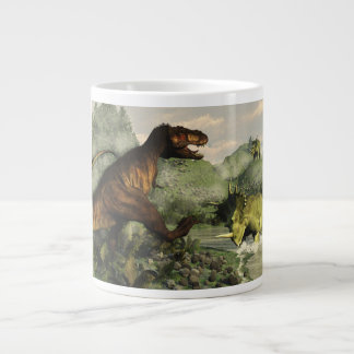 Tyrannosaurus rex fighting against styracosaurus large coffee mug