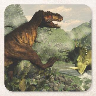 Tyrannosaurus rex fighting against styracosaurus square paper coaster