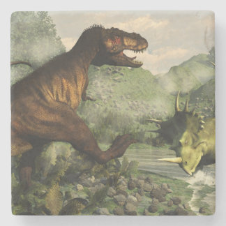 Tyrannosaurus rex fighting against styracosaurus stone coaster