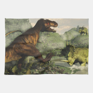 Tyrannosaurus rex fighting against styracosaurus tea towel