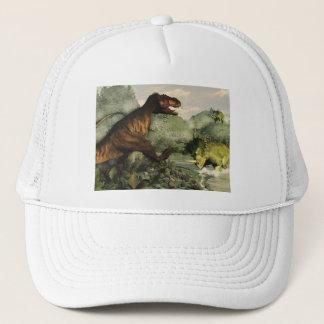 Tyrannosaurus rex fighting against styracosaurus trucker hat