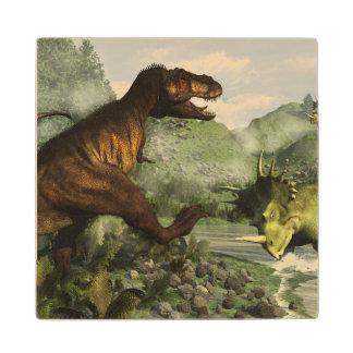 Tyrannosaurus rex fighting against styracosaurus wood coaster